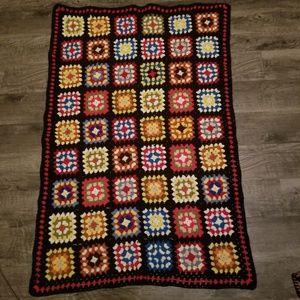Vintage Crochet Granny Squares Throw Afghan